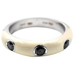 0.28 Carat Black Diamond and White Enamel 18 Karat White Gold Ring