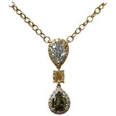 GIA Light Green Diamond and Fancy Deep Grayish Yellowish Green Diamond Necklace