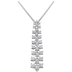 2.09 Carat Round Diamond Drop Pendant Necklace