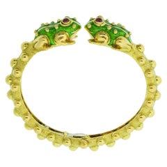 David Webb Enamel Frogs Gold Bracelet