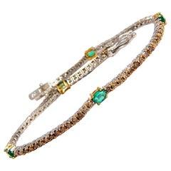 3.00 Carat Green Natural Emeralds Fancy Color Diamonds Tennis Bracelet 14 Karat