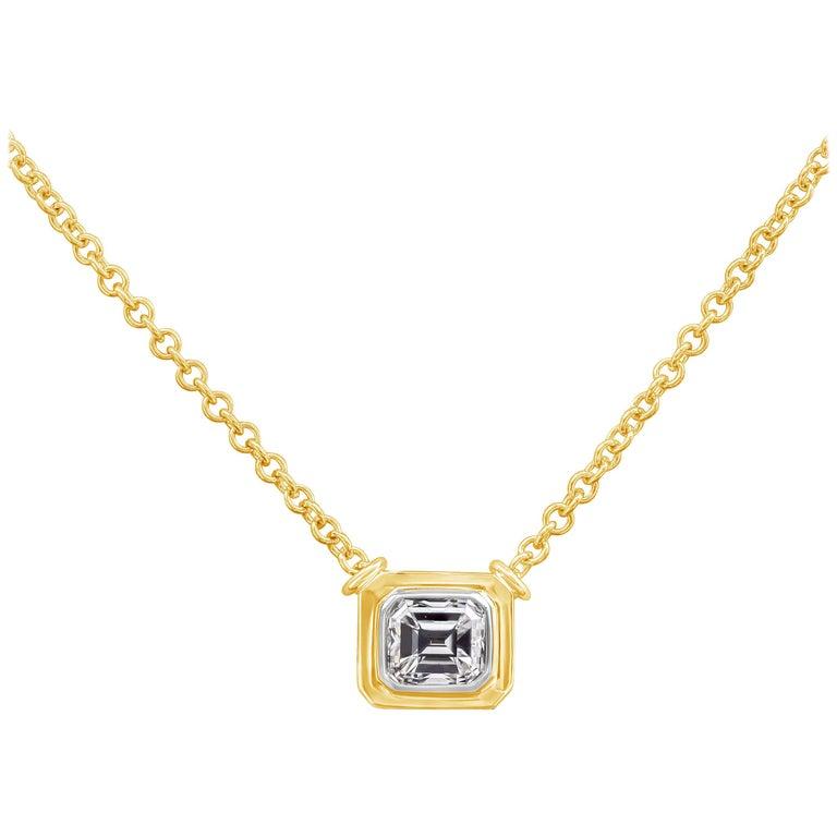 1.00 Carat Emerald Cut Diamond Bezel Pendant Necklace