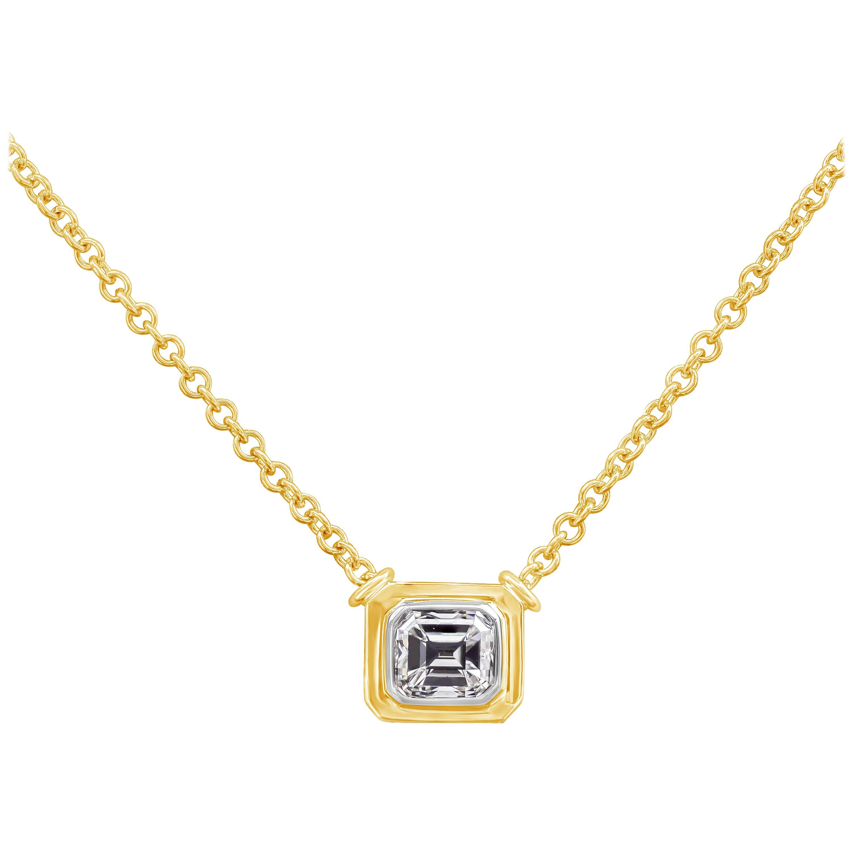 Roman Malakov 1.00 Carat Emerald Cut Diamond Bezel Pendant Necklace