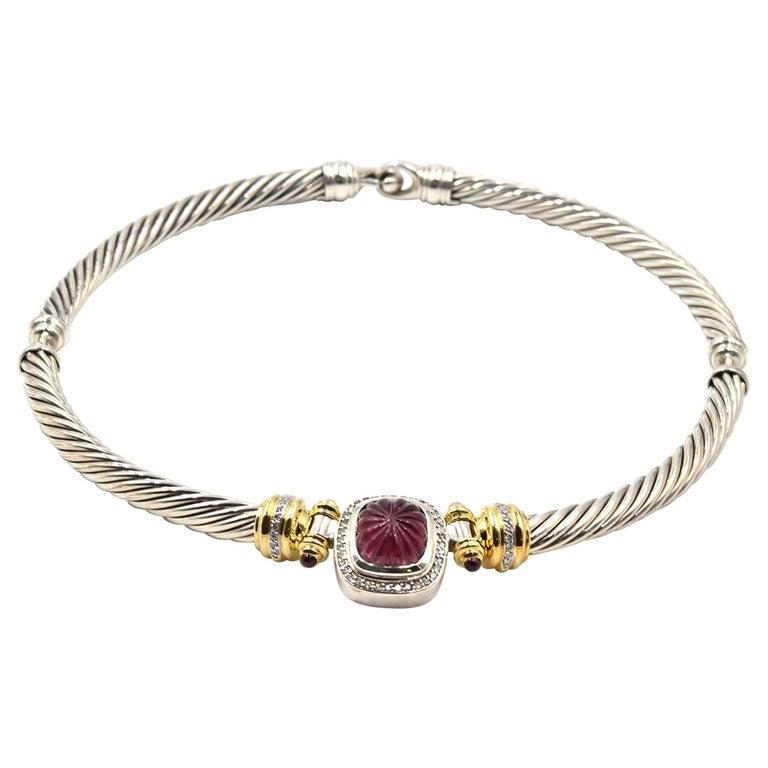 David Yurman 18k Gold & Sterling Silver Pink Tourmaline with Diamond Necklace