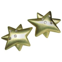Unknown Designer 18 Karat .50 Carat Diamonds Star Clip Earrings Heavy