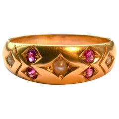 Antique Gold Gypsy Ring with Rubies and Pearls