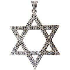 1.80 Carat Round Natural Diamonds Star Pendant 14 Karat Huge