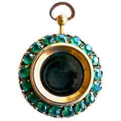Antique Monocular Pendant with Green Pastes