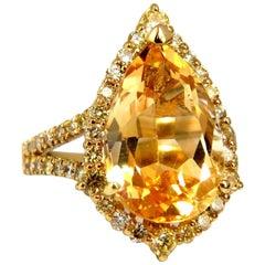 7.70 Carat Natural Fancy Yellow Diamonds Citrine Ring 14 Karat Halo