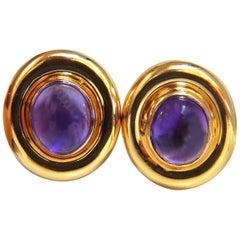12.00 Natural Amethyst Clip Earrings 14 Karat