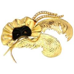 18 Karat Signed 1.00 Carat Diamonds Theater Eye Mask Feather Peacock Deco Brooch