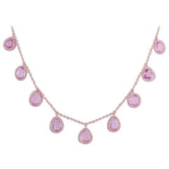 Natural Pink Sapphire and Rose Gold Chain Necklace
