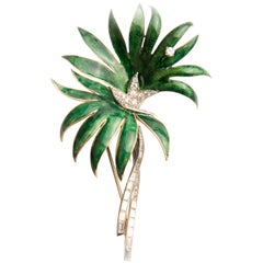 Boucheron 18k Yellow Gold Platinum Green Enamel and Diamond Palm Tree Brooch