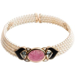 Marina B 'Bulgari' Tourmaline and Cultured Pearl Choker Necklace 'Pauline'