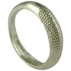 18 Karat White Gold Rat Tail Slim Band Stack Ring