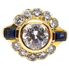 Vintage Diamond Sapphire Engagement Bridal Anniversary Wedding Yellow Gold Ring