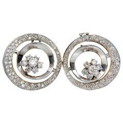 1.30 Carat Diamonds Flower Cluster Circle Earrings 14 Karat G/VS 3D Raised Deco