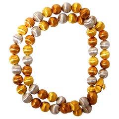 18 Karat 36.5 Grams 7mm Ball Bead Link Necklace Graver Textured Finish