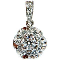 1.01 Carat Natural Diamonds Cluster Raised Clover Pendant 14 Karat G/VS