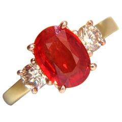 GIA 2.79 Carat Natural Vivid Red Orange Sapphire and Brown Diamond Ring 18 Karat