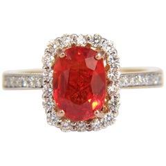 3.08 Carat Natural Bright Reddish Orange Sapphire Diamonds Halo Ring 14 Karat