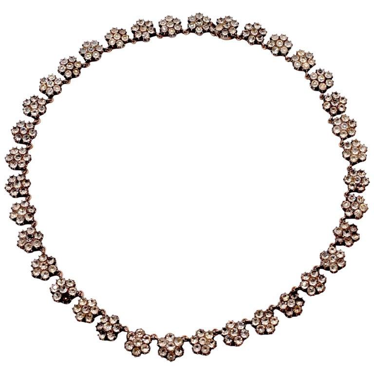 Antique White Paste Cluster Riviere Necklace