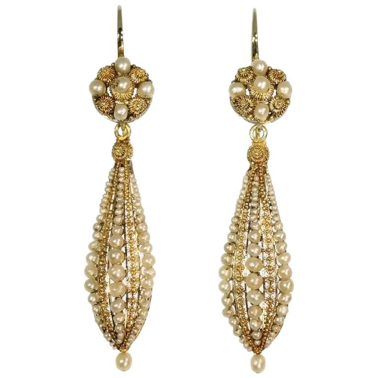 Victorian Pearl and Gold Dangle Earrings