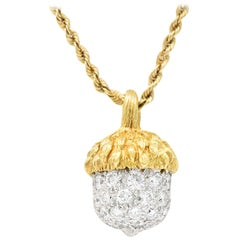 McTeigue Retro 1.20 Carat Diamond Platinum 18 Karat Gold Acorn Pendant Necklace