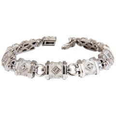 Deco Spanish Gothic Natural Diamond Tennis Bracelet .33 Carat G/Vs 14 Karat