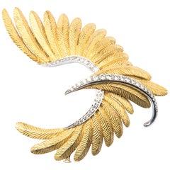 Bulgari 18k Yellow Gold Platinum and Diamond Bird Brooch