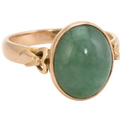 Oval Jade Cocktail Ring Vintage 14 Karat Yellow Gold Estate Fine Jewelry Pre Own