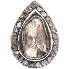 7 Carat Pear Shape Rose Cut Diamond Solitaire Engagement Ring