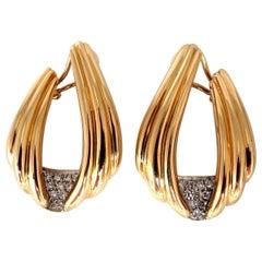 .80 Carat Round Natural Diamond Lobe Wrap Retro Grill Earrings 14 Karat