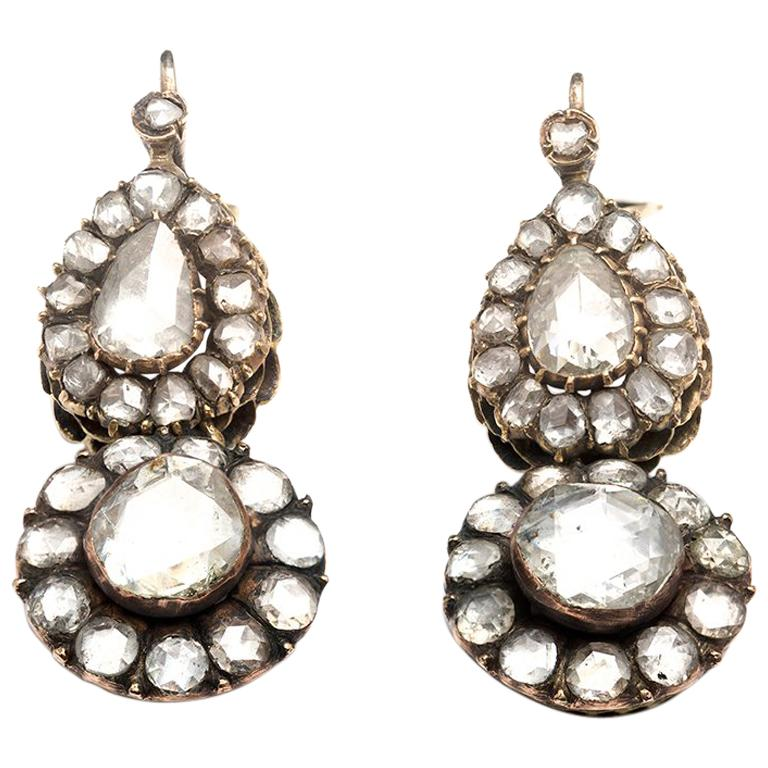 7 Carat Rose Cut Diamond Drop Earrings, circa 1890