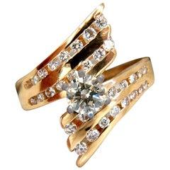 1.08 Carat Diamonds Channel Mount Bypass Form Ring Mod Cocktail 14 Karat