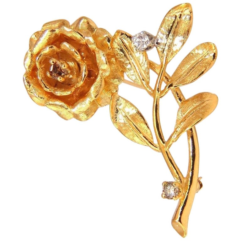 .65CT Natural Fancy Color Yellow Brown Diamonds Raised 3D Rose Pin 14KT Branch For Sale