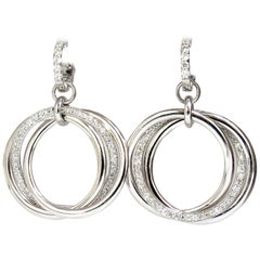 1.26 Carat Natural Round Diamonds Dangle Rolling Rings Earrings 14 Karat Large