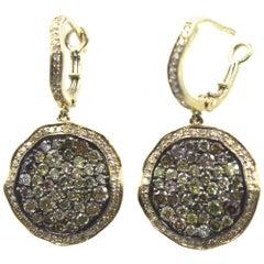 Modern Champaigne White Diamond Dangle 14 Karat Yellow Gold Earrings