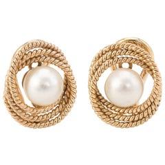 Cultured Pearl Infinity Earrings Vintage 14 Karat Gold Estate Fine Jewelry