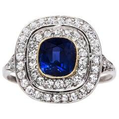 Edwardian 2.05 Carat Ceylon Sapphire and Diamond Ring