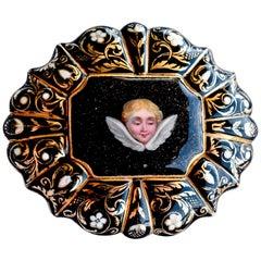 "Antique 18 Karat Gold and Enamel Cherub in ""Night of Sky"" Brooch"
