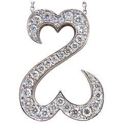 1.40 Carat Natural Diamonds Double Heart Pendant 14 Karat