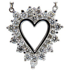.78 Carat Brilliant Round Diamonds Open Heart Necklace 14 Karat F/VS Best Offer