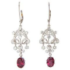 3.68ct Natural Lavender Tourmaline Diamonds Dangle Earrings 14KT Gilt Deco