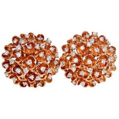 1.06 Carat Natural Diamonds Cluster Cocktail Earrings 14 Karat Ocean Coral 3D