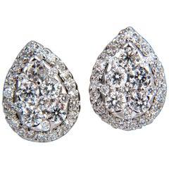 1.40 Carat Natural Diamonds Pear Cluster Earrings 14 Karat