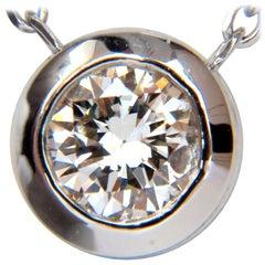 .65 Carat Diamond Modern Solitaire Bezel Necklace 14 Karat H / Si-1 Excellent