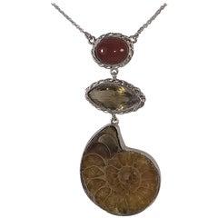 Alberto Juan Mexican Sterling Silver Fire Opal Smoky Quartz Ammonite Necklace