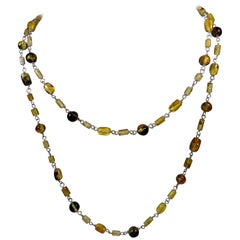 Alberto Juan Mexican Handmade Sterling Silver Amber Beaded Necklace