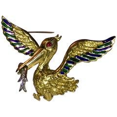 18 Karat Gold Pelican Enamel Pin with Ruby Eye and Pave Diamond Fish